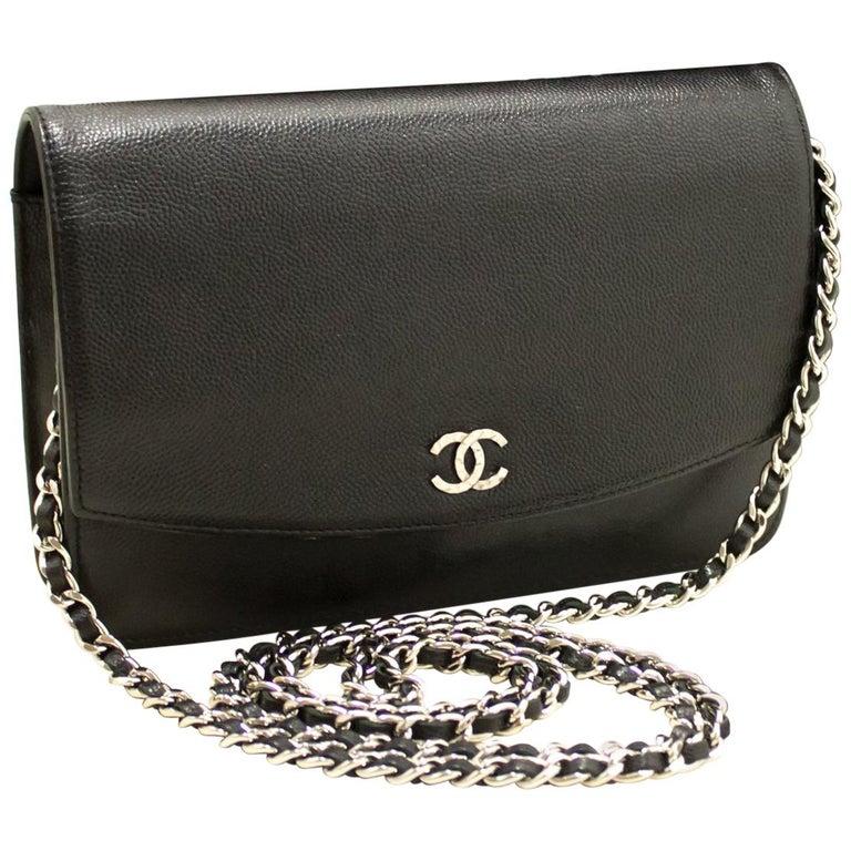 69fe13afe33e Chanel Caviar Wallet On Chain Woc Dark Gray Shoulder Bag Crossbody ...