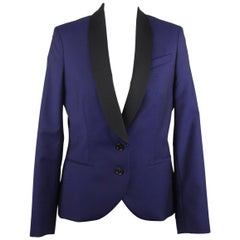 Alexander McQueen Blue Wool Blend Tuxedo Blazer Jacket Size 42