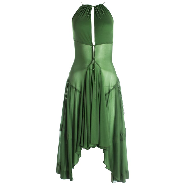 Azzedine Alaia green pleated backless summer dress, c. 2000-2009