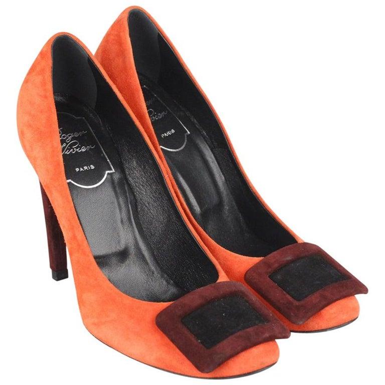 764a06ded458 Roger Vivier Orange Color Block Suede Belle Pumps Heels Size 35.5 For Sale