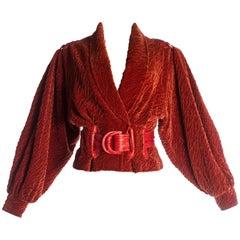Elizabeth Wessel red velvet and leather bomber jacket, c. 1980-1989