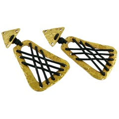Alexis Lahellec Vintage Massive Tribal African Inspired Dangling Earrings