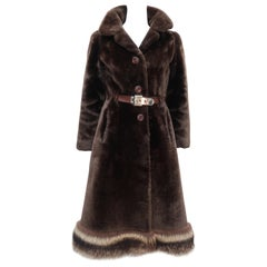 1960's Revillon Brown Mouton Sheepskin Belted Coat With Fur Trim