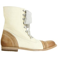 Brunello Cucinelli Ivory Brown Leather Lace Up Boots