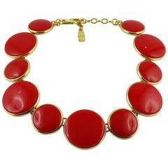 Yves Saint Laurent YSL Vintage Red Discs Necklace
