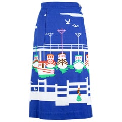 Malia of Honolulu Hawaiian Cobalt Blue Cotton Nautical Print Wrap Skirt, 1970s
