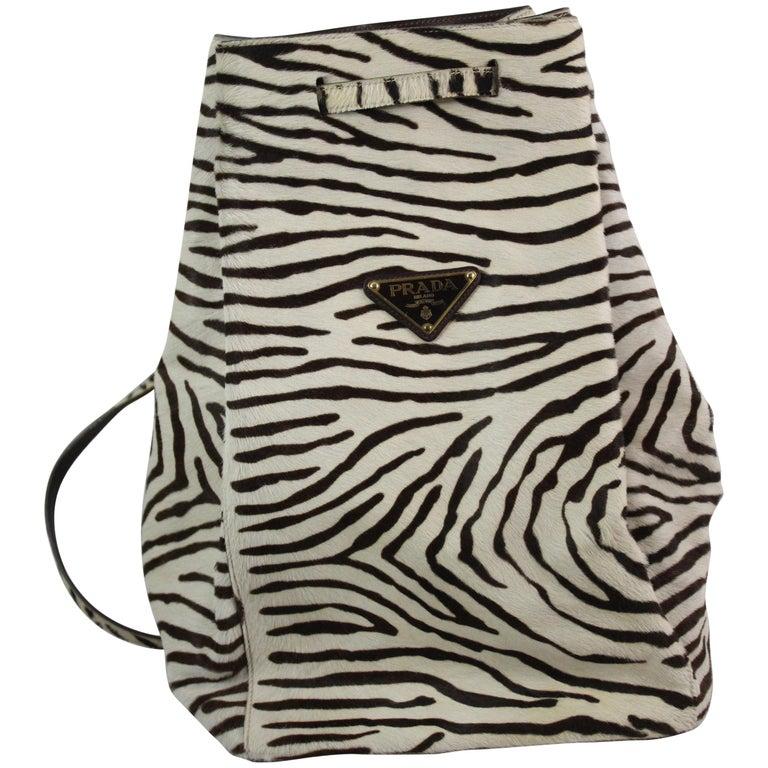 Prada Zebra Style Leather Backpack