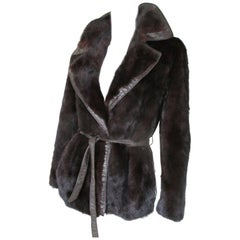 Belted Mink Fur Jacket with Leather details