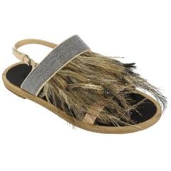 Brunello Cucinelli Womens Nude Monilli Feather Ankle Strap Sandals