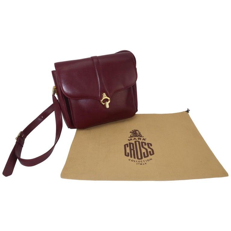1970's Mark Cross Burgundy Leather Shoulder Strap Handbag
