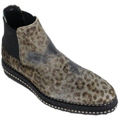 Roberto Cavall Mens Studded Leopard Chelsea Ankle Boots