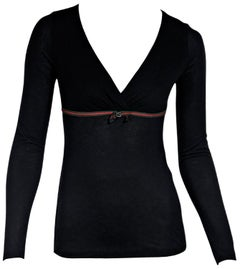 Gucci Black Jersey Knit Long-Sleeve Top