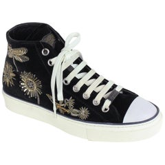 Roberto Cavalli Black Suede Embellished High Top Sneakers