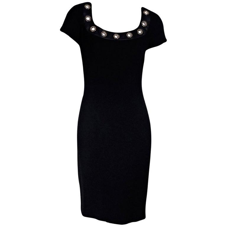 Black Moschino Boutique Short-Sleeve Sheath Dress