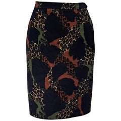 Yves Saint Laurent Rive Gauche Multicolor Vintage Pencil Skirt