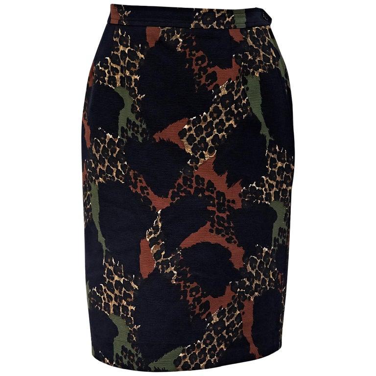 Yves Saint Laurent Rive Gauche Multicolor Vintage Pencil Skirt