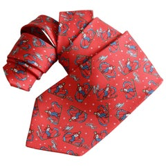 Rare Hermes Necktie Mens Downhill Skiers Red Silk Twill 7601 SA Made in France