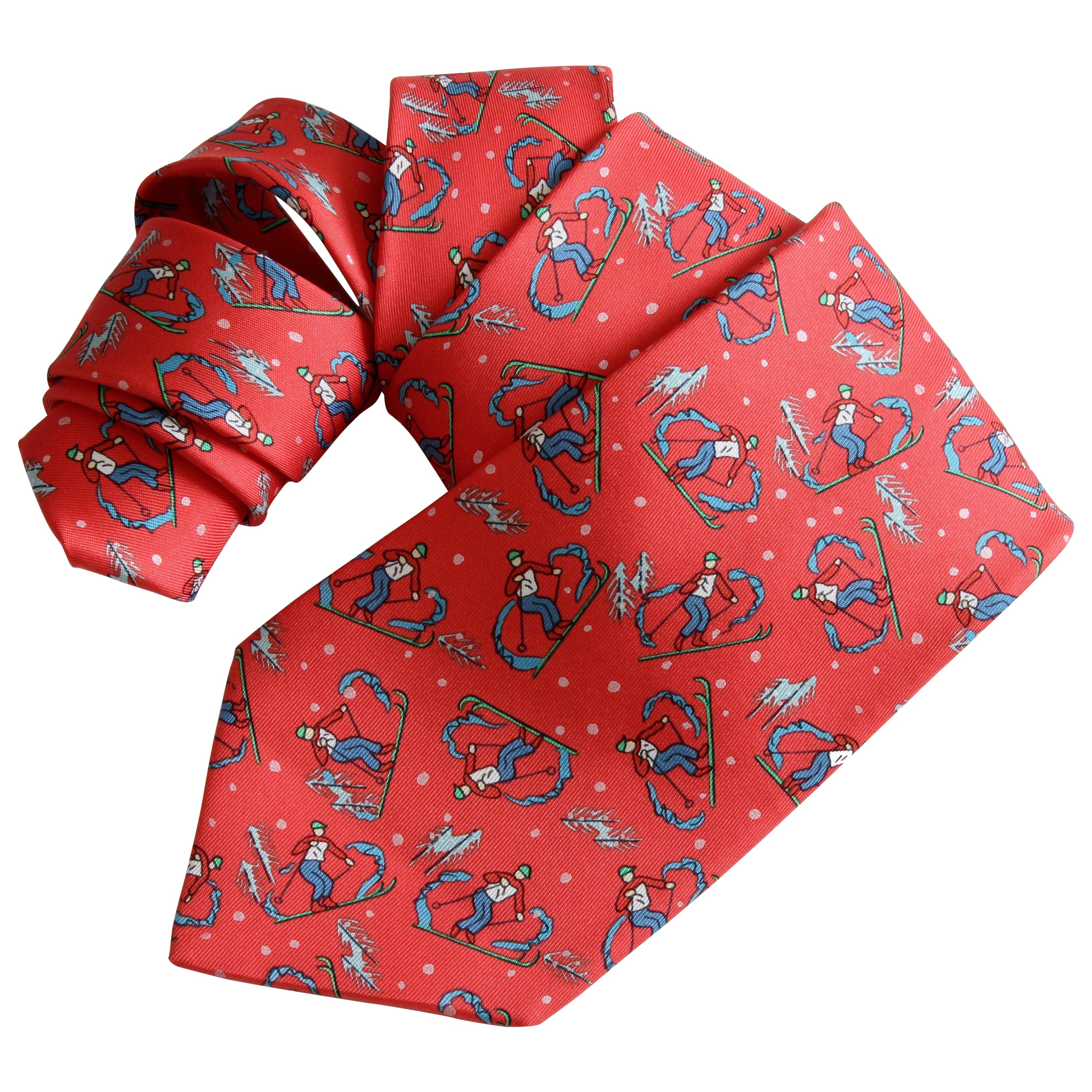 60c754327fe4 Rare Hermes Necktie Mens Downhill Skiers Red Silk Twill 7601 SA Made in  France at 1stdibs