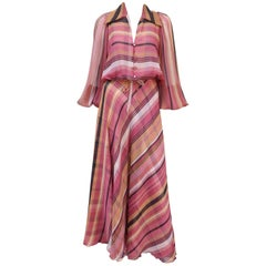 1970's Alice Blaine Striped Chiffon Two Piece Maxi Dress