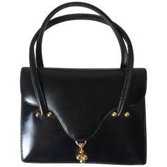 Hermes Vintage Black Box Leather  Sac Cordeau Bag