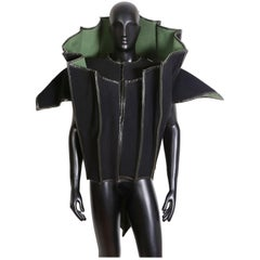 Paco Rabanne Couture Black and Green Architectural and Structured Jacket