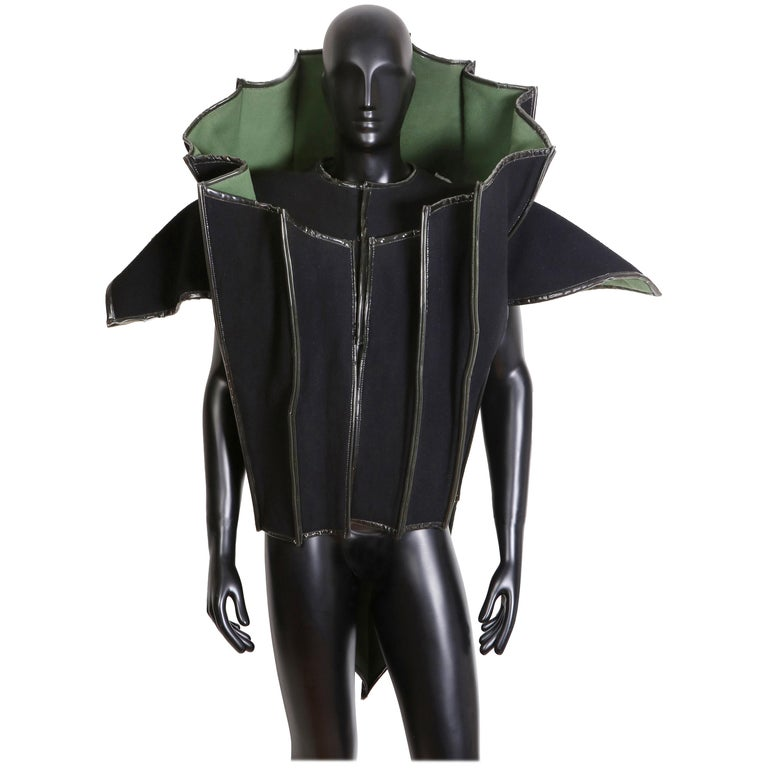 Paco Rabanne Couture Black and Green Architectural and Structured Jacket For Sale