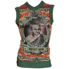Jean Paul Gaultier Tattoo Mesh Tank with Ribbed Knit Trims, circa 1990s