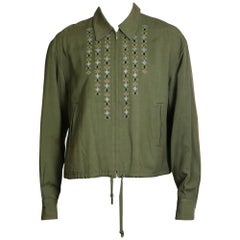 Jean Paul Gaultier Army Green Jacket with Embroidery, circa 1990s