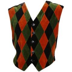 Jean Paul Gaultier Velvet Harlequin Vest, circa 1990s