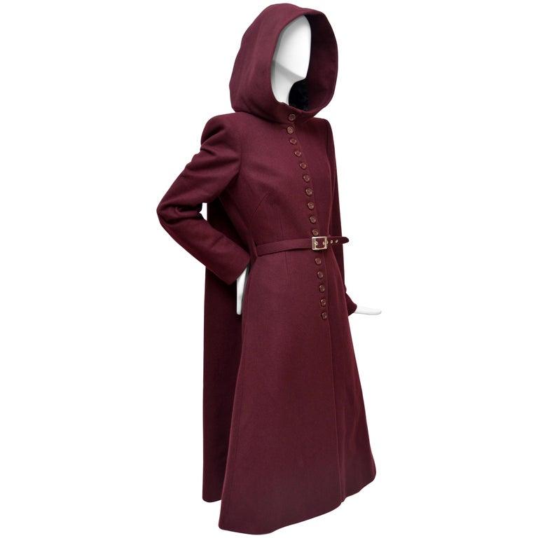 """Alexander McQueen """"Joan"""" Runway Burgundy Hooded Cape Coat, 1998 / 99 For Sale"""