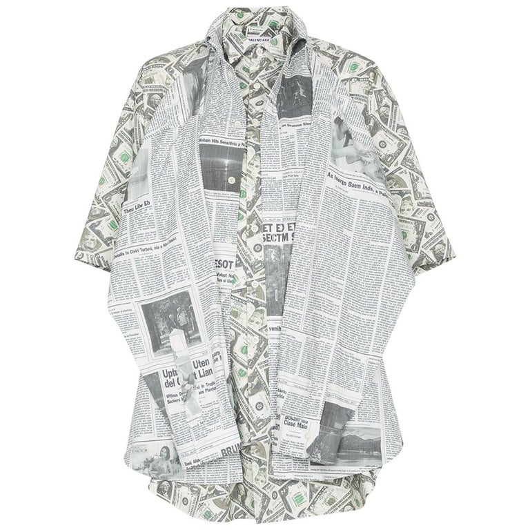 195ac14aac30 Balenciaga Money $$ Print Shirt Oversized Size 40 NEW For Sale. Balenciaga  oversized long sleeve ...