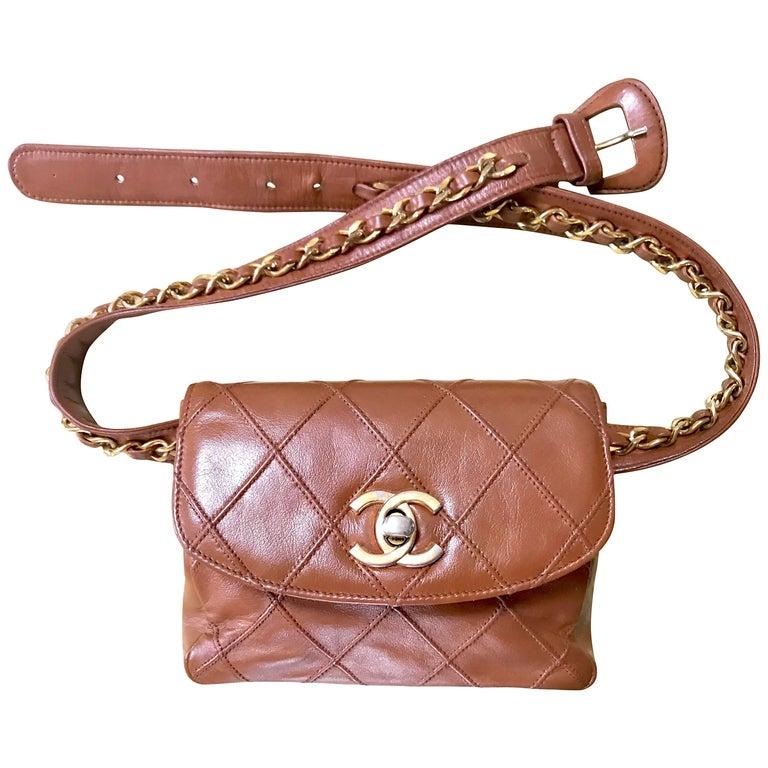 Chanel Vintage brown leather waist purse fanny pack hip bag with . Belt bag.