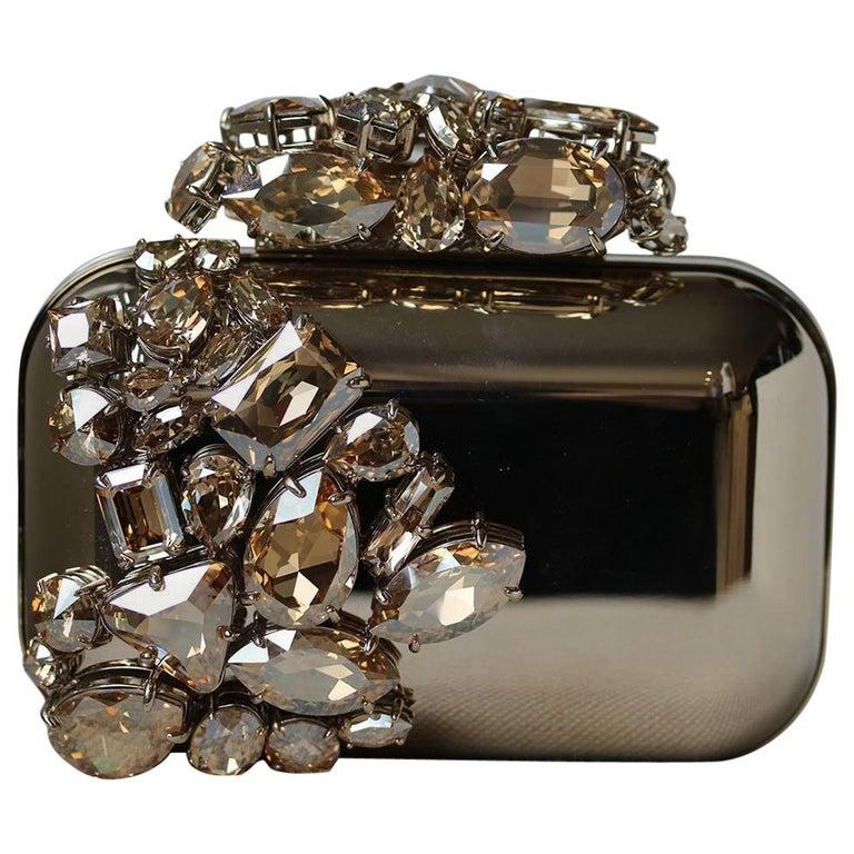 Jimmy Choo Cloud Crystal Embellished Metal Clutch