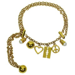 Moschino Vintage Iconic Charm Tiered Belt Necklace