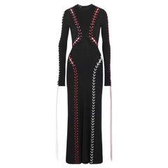 Alexander McQueen Whipstitched Ribbed Knit Maxi Dress