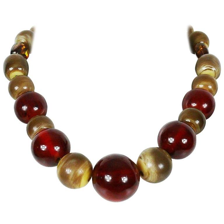 Yves Saint Laurent YSL Vintage 1970s Ball Necklace For Sale