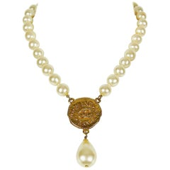 Chanel Vintage Pearl Necklace with CC Logo Coin Medallion, 1994