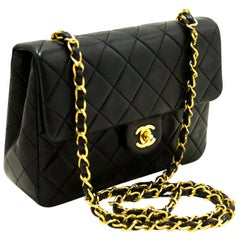 CHANEL Classic Mini Flap Chain Shoulder Bag Quilted Square Black