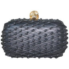 Alexander McQueen Leather Knotted Lattice Box Clutch
