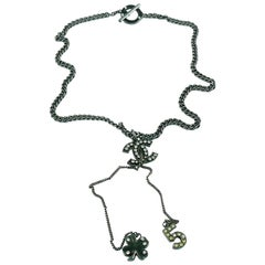 Chanel Ruthenium CC Pendant Necklace with N°5 and Clover