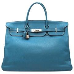 Hermes Blue Jean Clemence Leather 40cm Birkin Bag