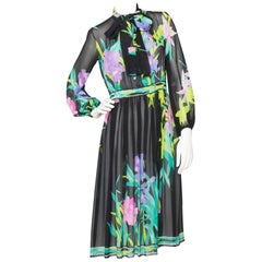 Leonard Vintage Floral Sheer Silk Dress, 1980