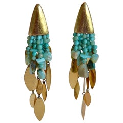 Monies Turquoise Opal Gold Plate Drop Clips