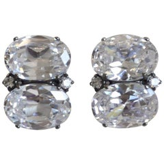 J. Kasi Double Oval CZ Button Clip Earrings in Rhodium