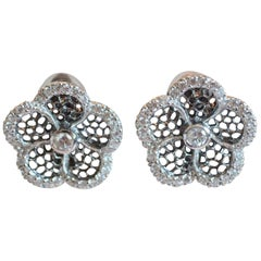 J. Kasi Five Petal CZ and Rhodium Clip Earrings
