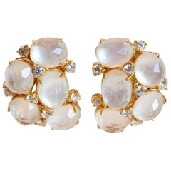 J. Kasi Cluster White Quartz and Mother of Pearl Clip Earrings