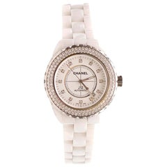 Chanel J12 White Ceramic Diamond Bezel Watch