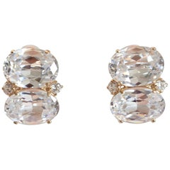 J. Kasi Double Oval CZ Button Clip Earrings in Gold Plated Brass