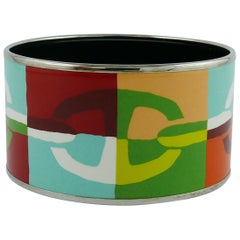 Hermes Extra Wide Enamel Printed Optique Chaine D'Ancre Bracelet