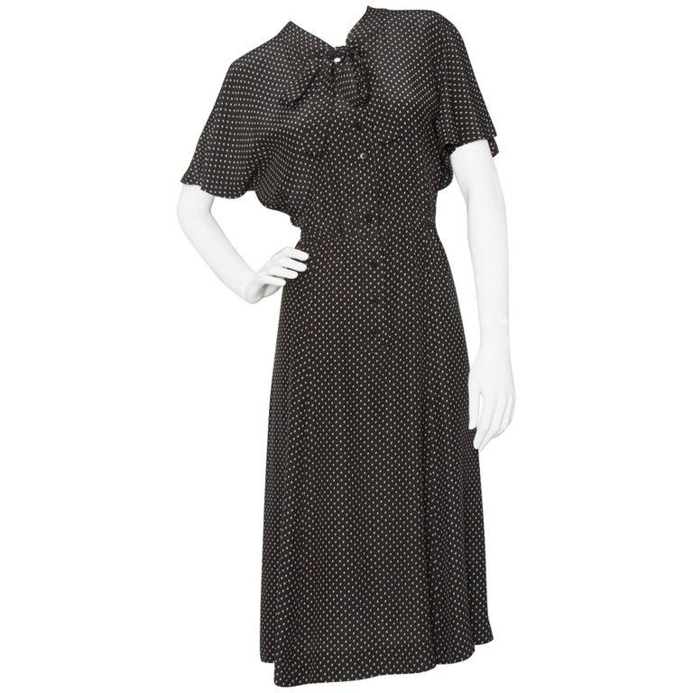 A Vintage 1980s Black Printed Yves Saint Laurent Rive Gauche Silk Dress For Sale